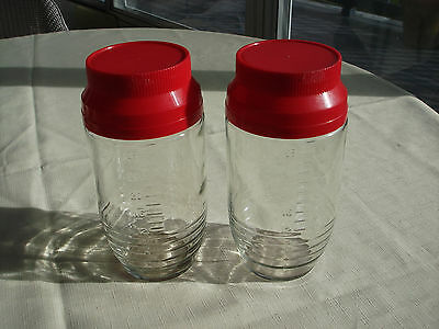 2 Vintage Anchor Hocking Canister Jars With Measurements / Red Lids