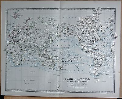 1874  Large Antique Map - Johnston- Chart Of The World On Mercators Projection