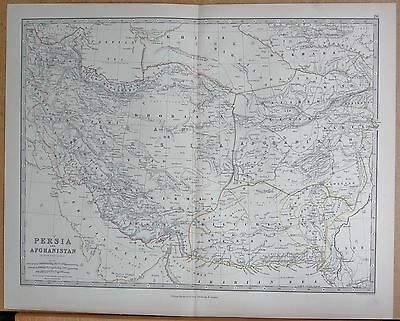 1874  Large Antique Map - Johnston- Persia And Afghanistan