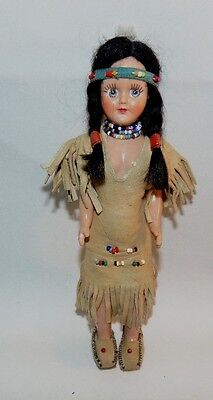 Vintage Celluloid Indian Doll Beads Moccasins Sleep Eyes Braids