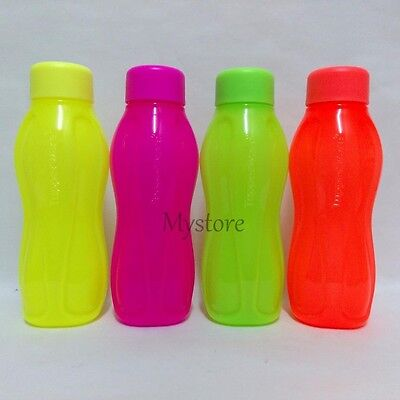 4 TUPPERWARE MINI H2O ON-THE-GO ECO WATER DRINK BOTTLE 310ml Neon Color Limited