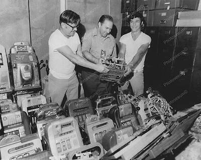 """Police Confiscated Slot Machines   8"""" - 10"""" B&W Photo Reprint"""