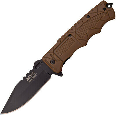 "MTech Folding Knife Pocket Assisted Open Plain Blade Brown EDC Rescue 8"" A909BN"