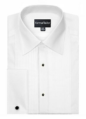 Mens White Evening Pleated Regular Collar Formal Dress Shirt