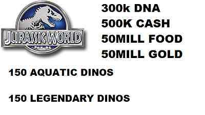 Jurassic World The Game Builder GOLD COINS DNA CASH FOOD PACKS Android IOS Park