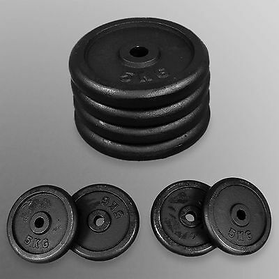 4 x 5kg Standard Barbell Weight Plates Discs Dumbbells Home Gym Fitness Exercise