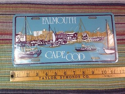Vintage Falmouth Cape Cod License Plate, Wonderful Graphic Design Embossed
