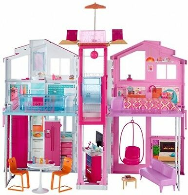 Barbie Town House 3 Level Home Play Set Furniture Working Lift Townhouse Dolls