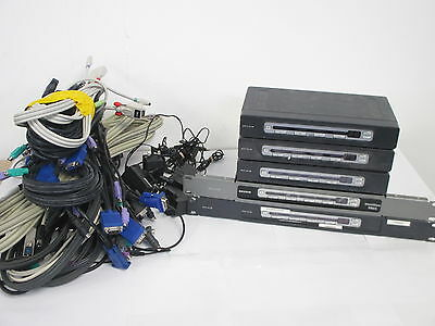 Job lot of 5 x BELKIN Omniview PRO2 / PRO3 KVM Switches with KVM Cables and PSU