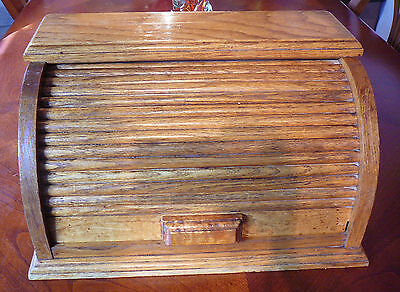 Vintage Roll Top Door Wood Breadbox Bread Box