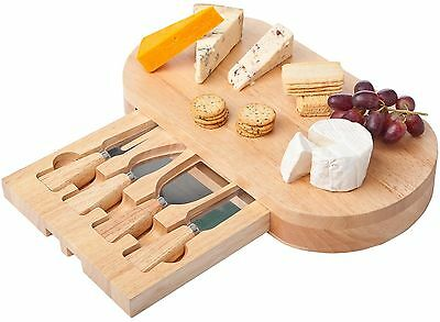 Large Oval Wooden Slide Out Cheese Board with 4pc Knife Serving Set