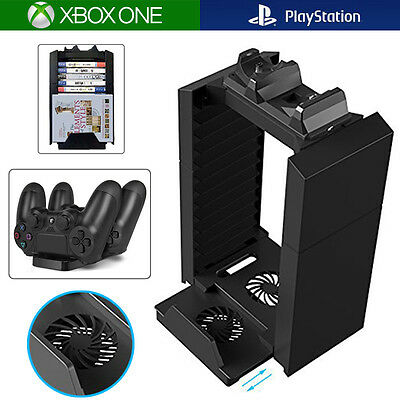 Disks Storage + Tower Console Stand + Controller Charging Station w/ Cooling Fan
