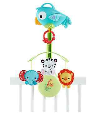 New Fisher Price Rainforest 3 In 1 Baby Cot Mobile Musical Toy