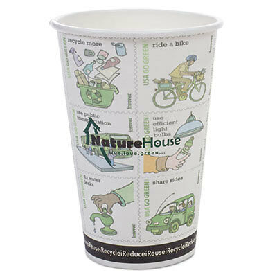 Compostable Live-Green Art Hot Cups, 16oz, White, 50/Pack C016