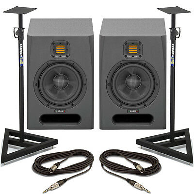 Adam F7 (Pair) Active Studio Monitor Speakers With Stands & Cables