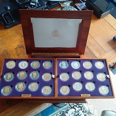 2002 & 2003 Royal Mint QE2 Golden Jubilee 24 Coin Gold & Silver Proof Boxed Set