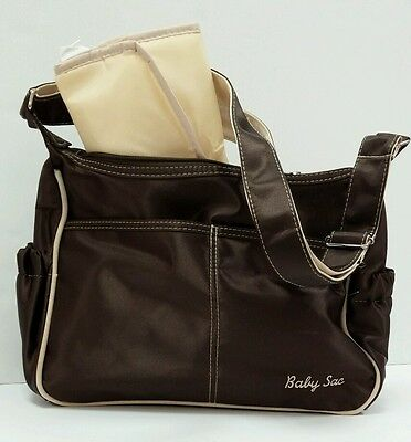 Baby Sac Nice Baby Diaper Bag Brown Tan Many Compartments w/ Changing Pad