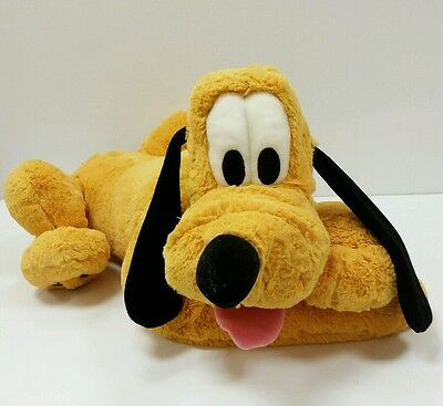 "BIG Disneyland DISNEY World  21""  PLUTO Plush Dog Toy Laying Down Stuffed Animal"