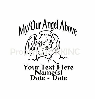 Personalized IN MEMORY ANGEL Wings Child #1 Vinyl Decal Wall Car Truck Window