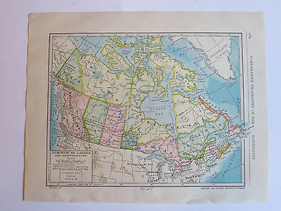 Antique Hundred Year Old Atlas Map Of Dominion Of Canada & Newfoundland, 1911