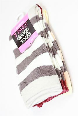 3 x Pairs Ladies Design Socks White/Brown Orange Size 4-8