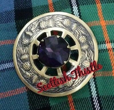 New Men's Scottish Kilt Fly Plaid Brooch Purple Stone Brushed Antique Finish 3""