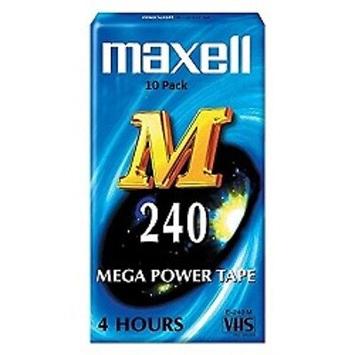 VHS Video Tape Maxell 4 hour E240M Mega Power Pack of 10