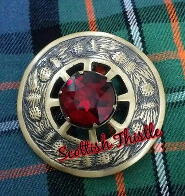 "Men's Highland Kilt Fly Plaid Brooch Red Stone Brass Antique Finish 3""/Scottish"