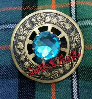 "Men's Fly Plaid Brooch Sky Blue Stone Brushed Antique Finish 3""/Scottish Brooch"