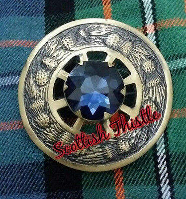 New Blue Stone Kilt Fly Plaid Brooches/Scottish Fly Plaid Brooches Antique 3""