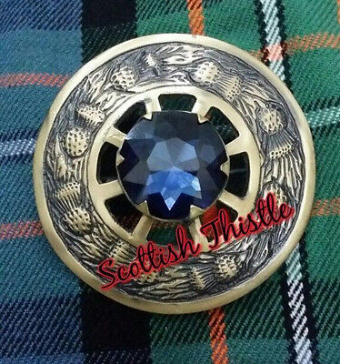 "New Blue Stone Kilt Fly Plaid Brooches/Scottish Fly Plaid Brooches Antique 3"" • EUR 15,35"