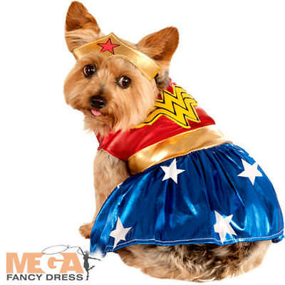 Wonder Woman Dog Fancy Dress DC Superhero Justice League Puppy Pet Costume New