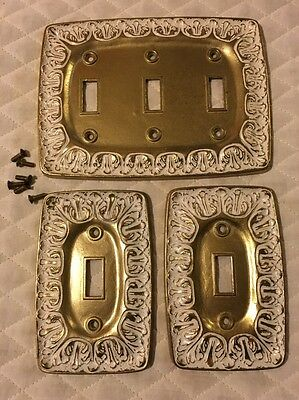 Vtg Lot Mid Century Hollywood Regency Gold w/ White Wash Light Switch Plates