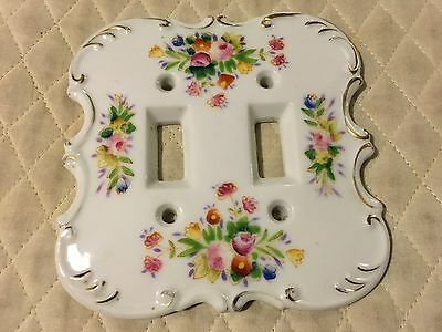 Vtg Electric Double Switch Plate Porcelain Elegant Floral Shabby Chic Design
