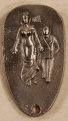 Vintage White Metal Art Deco Style Risqué Naughty Oh! Lady Watch FOB Key Ring