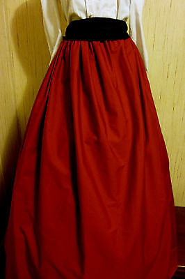 Red SCA/renaissance/Civil War/VIctorian/Gothic/Steampunk Skirt with black sash