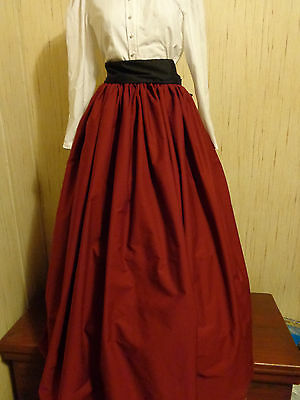 Burgundy SCA/renaissance/Civil War/VIctorian/Gothic/Steampunk Skirt w/black sash