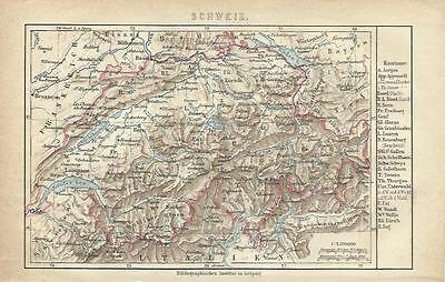 1878 SCHWEIZ Original Alte Landkarte mit Namen-Register Karte Old Print Litho
