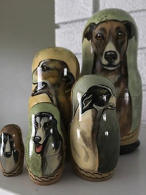 Russian Greyhound Nesting Dolls-signed-Matruschka Dolls