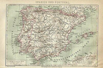 1878 SPANIEN UND PORTUGAL Alte Landkarte mit Namen-Register Old Print Litho