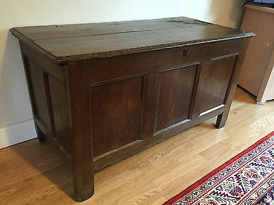 Antique Early Panneled Oak Coffer/Blanket Box/Chest