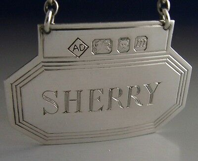 Top Quality Alfred Dunhill Solid Sterling Silver Sherry Wine Label 1967