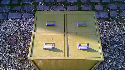 Metal 4 Drawer Filing Drawer/Cabinet/Card Holder VINTAGE STEAM PUNK
