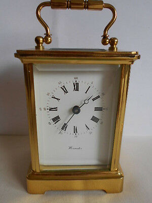 VINTAGE HEAVY (over 1kg) 8 DAY OBIS WORCESTER BRASS CARRIAGE CLOCK
