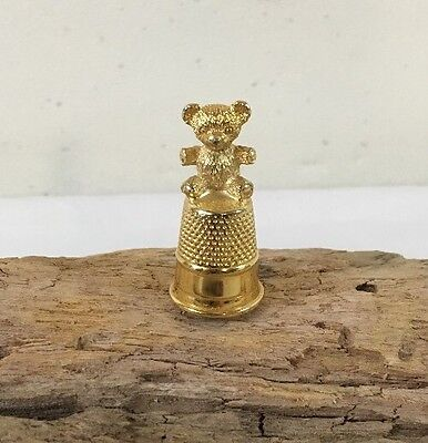 Vintage Thimble with Teddy Bear Sitting On Top, Metal Gold Tone Size 9