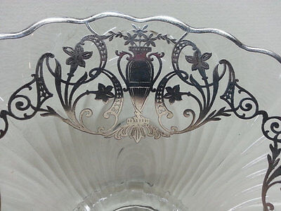 Cambridge Glass Caprice Footed Bowl, Silver City Urn Pattern Overlay