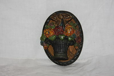 Antique Ornate Flower Wedding Basket Cast Iron Door Knocker Original Paint