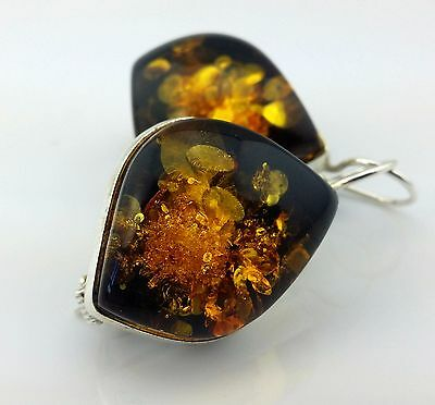 14.5 gr Genuine Baltic Green Amber Earrings (not pressed)