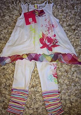 NEW, DEUSE PAR DEUSE, 3, French designer, white & floral, top & leggings set
