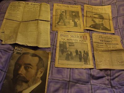 Rare - British History - 5 Old Newspapers And A Weekly Illustrated